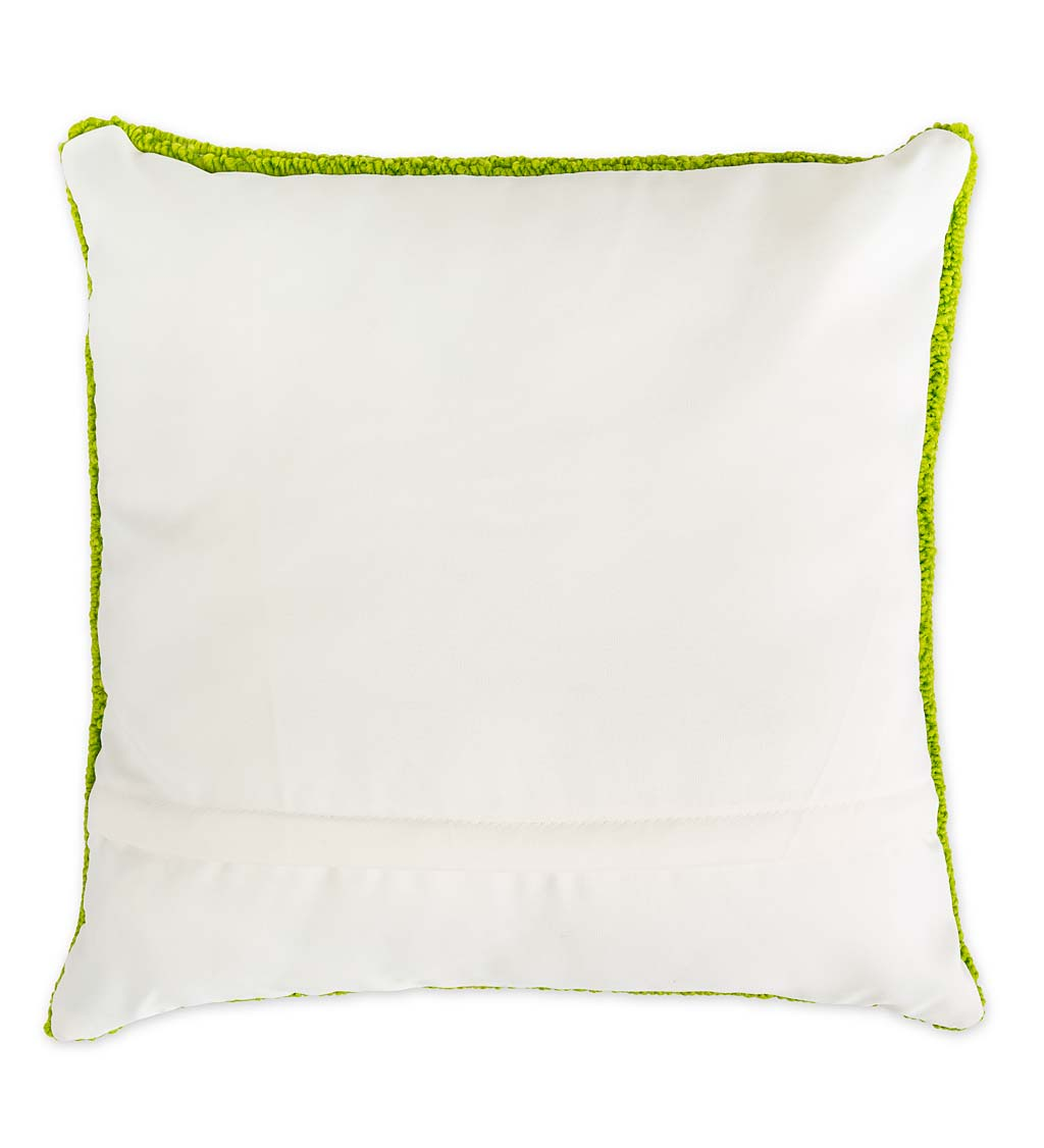 Indoor/Outdoor Yellow Jasmine Hooked Polypropylene Throw Pillow