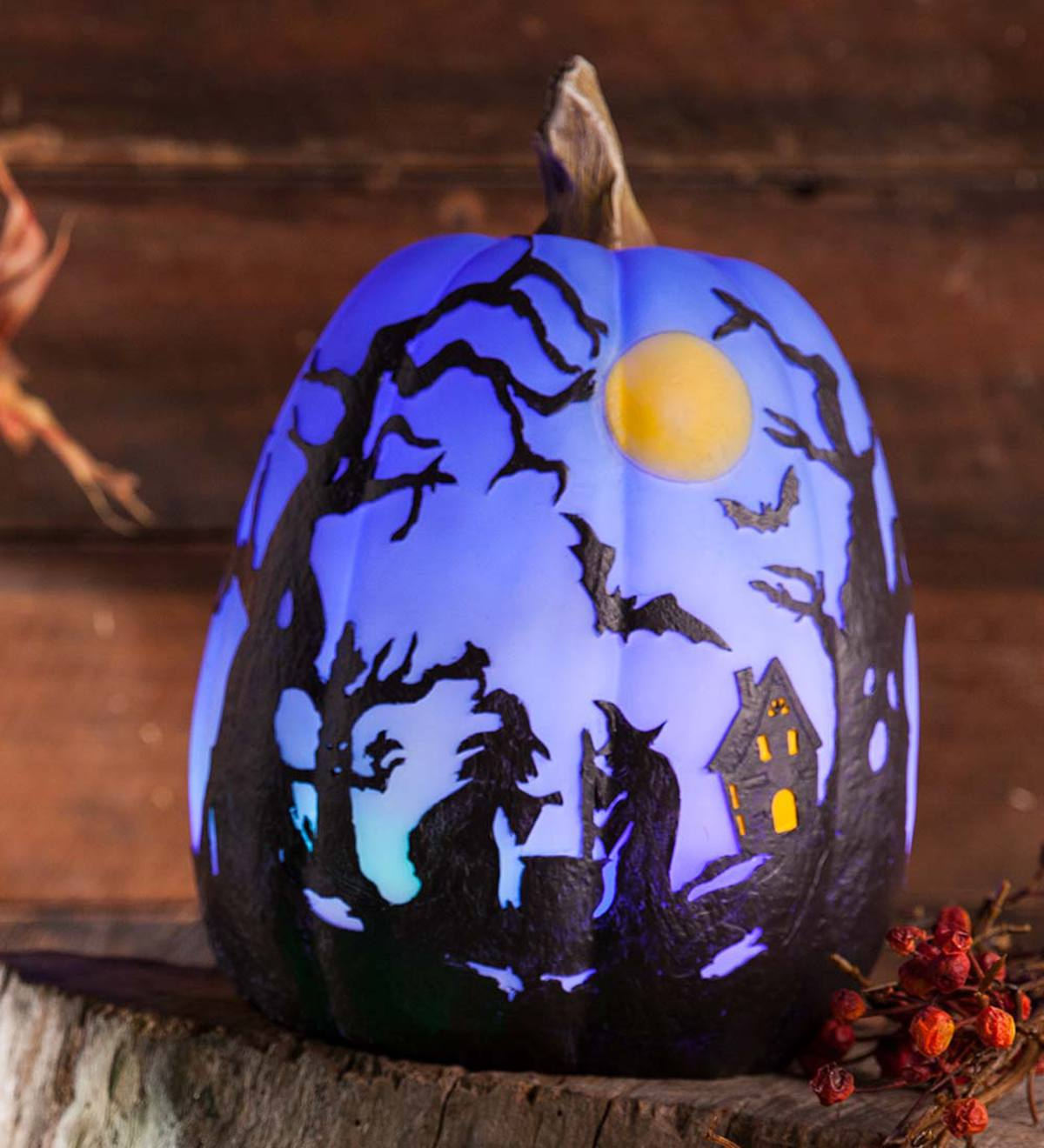 Color Changing Lighted Halloween Pumpkin, Tall | PlowHearth