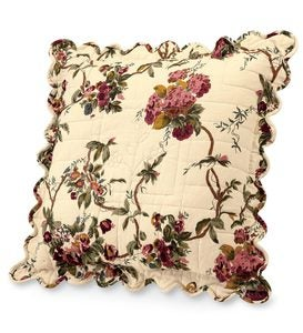"18""sq. Scalloped Edge Floral Cotton Pillow - Tan Leaf"
