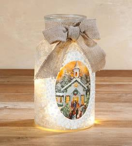 Lighted Milk Jar with Painted Winter Scene