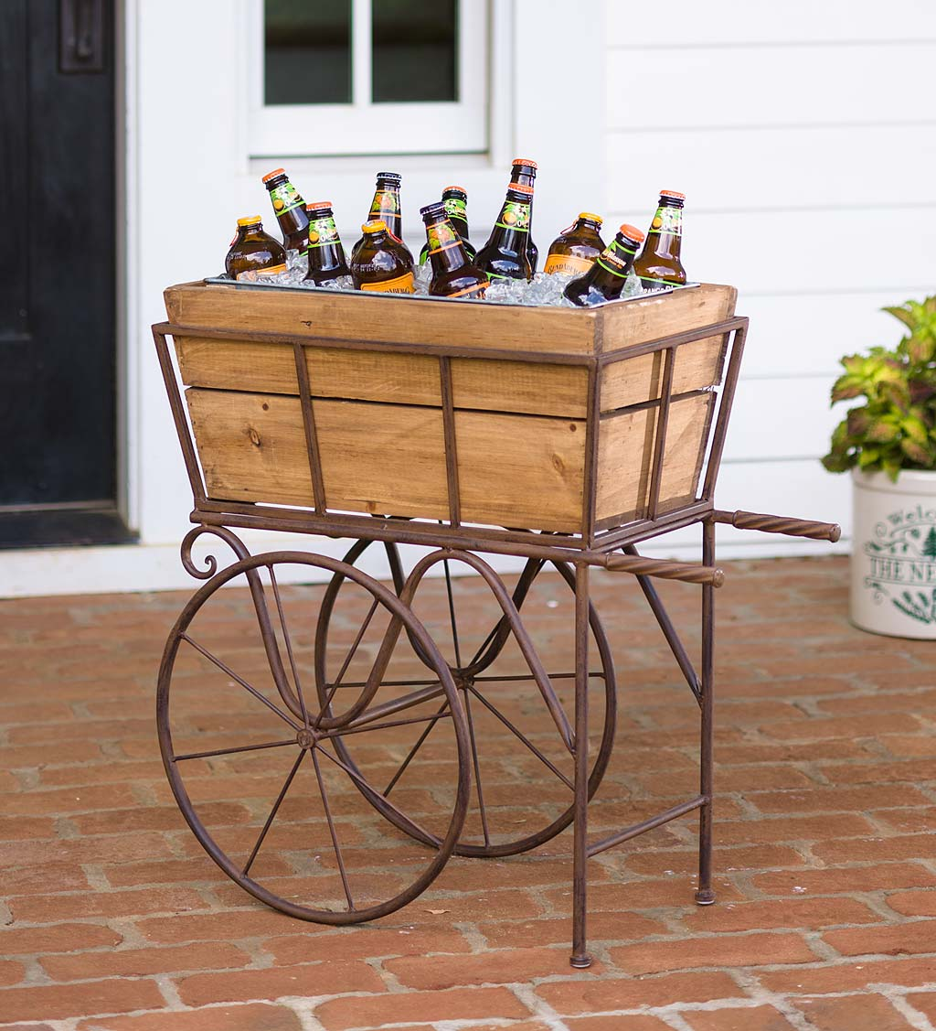 Wooden Wagon Planter/Drink Holder with Wheels