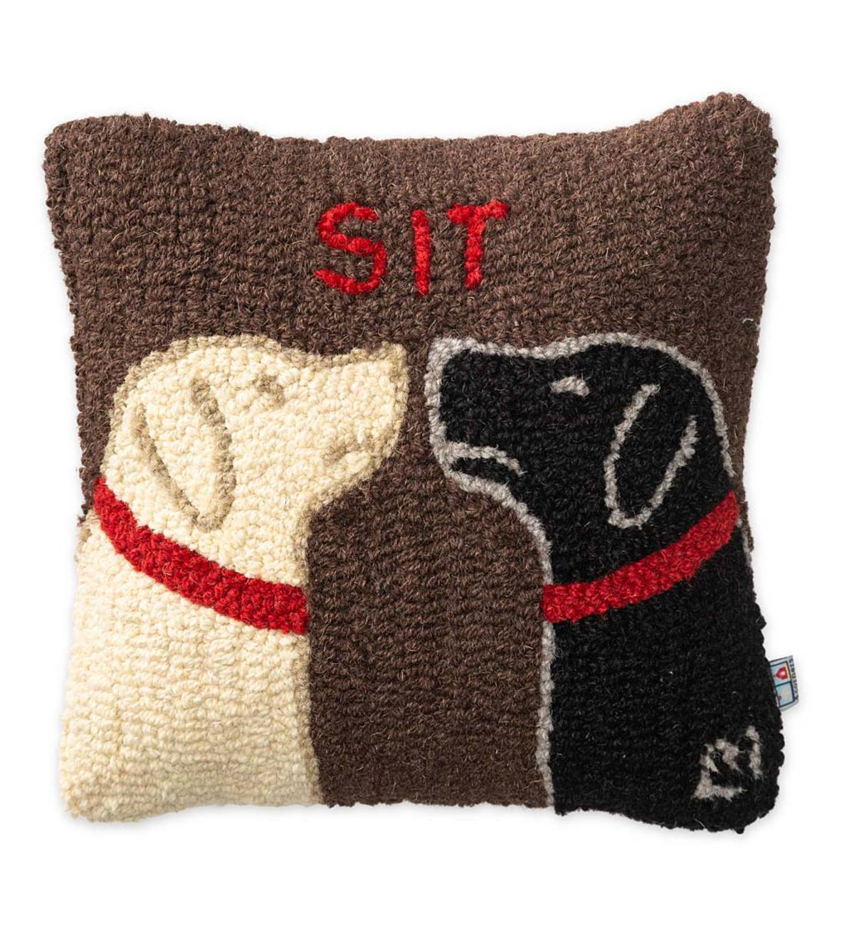 Labrador Dogs Sit Hand Hooked Wool Throw Pillow Plowhearth