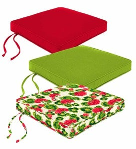 "Polyester Deluxe Chair Cushion With Ties, 20½""x 20½""x 2½"""
