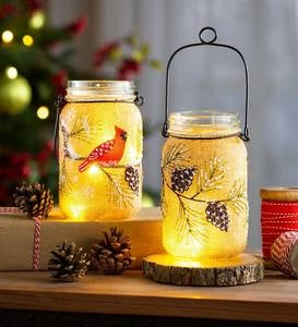 Hand-Painted Lighted Holiday Mason Jars with Burlap Wrap, Set of 2