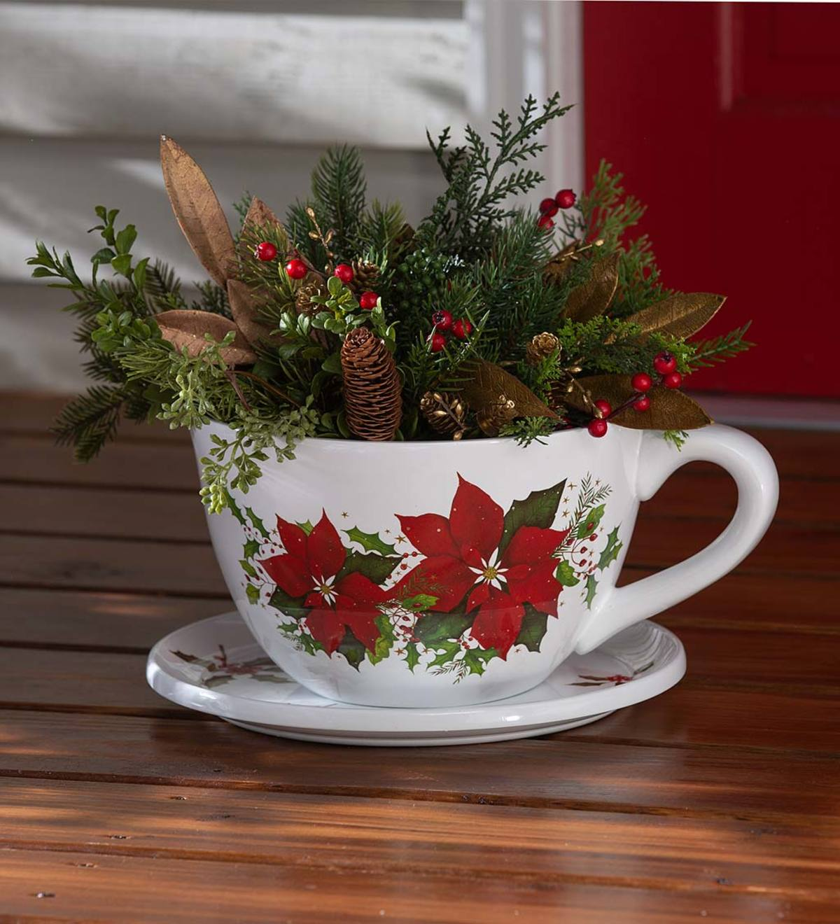 Indoor/Outdoor Poinsettia Teacup Planter with Saucer