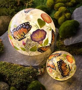 Butterfly Crackle Glass Solar Globes, Set of 2