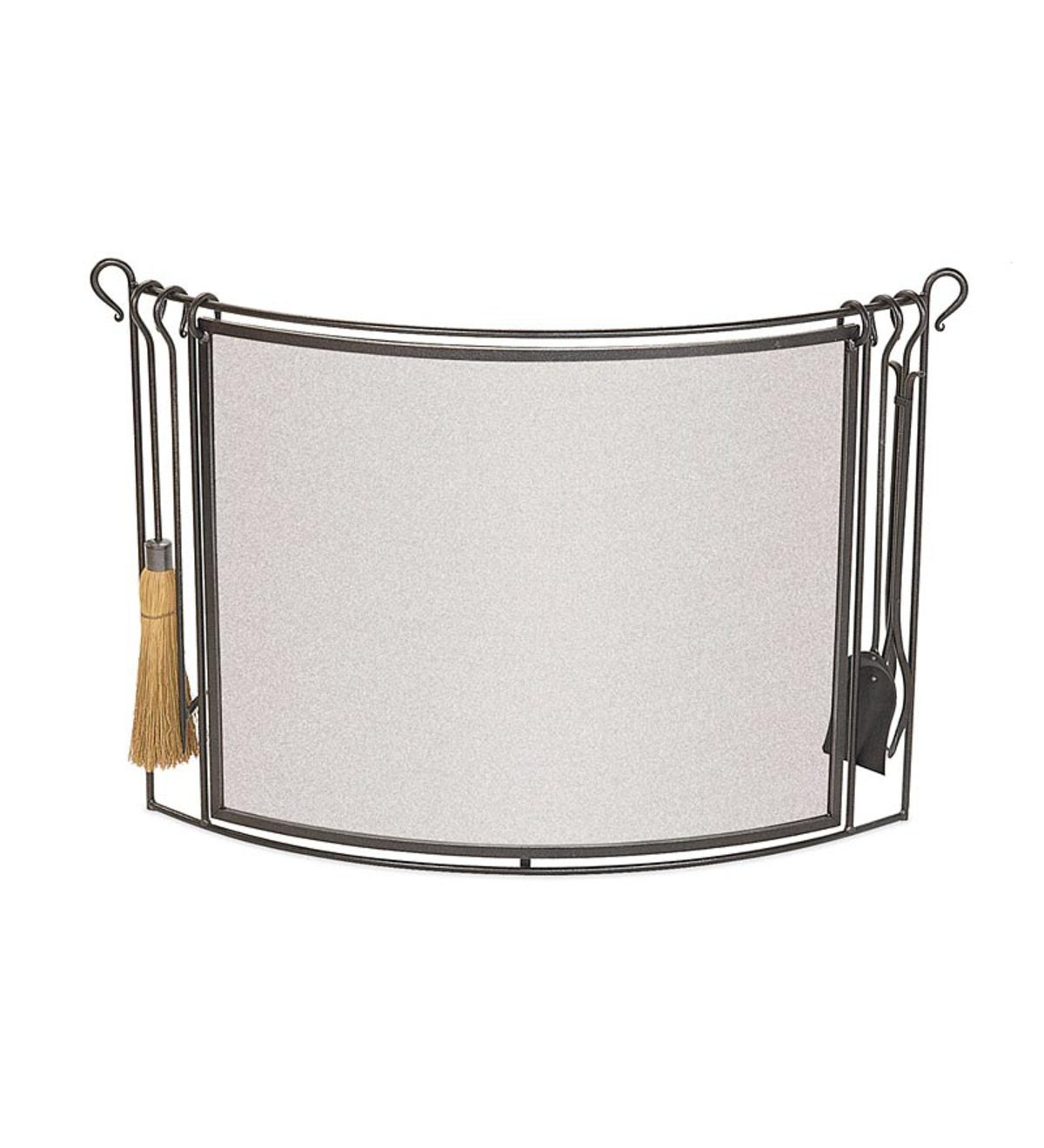 Bowed Steel Fireplace Screen With 4-Piece Tool Set