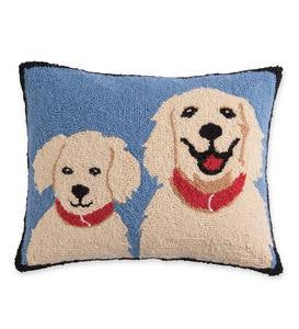 Hooked Wool Golden Retrievers Throw Pillow