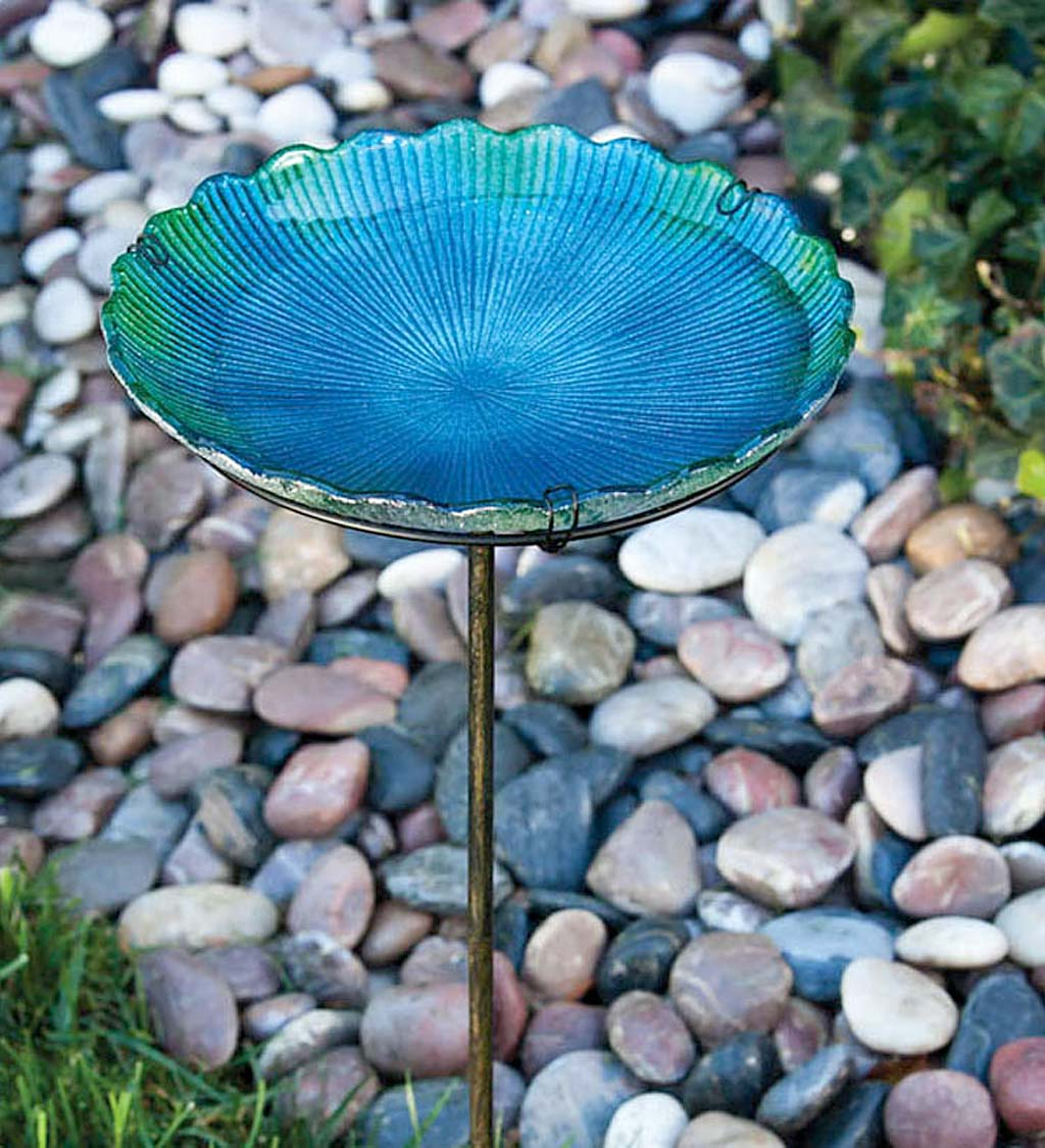 Sea Glass Birdbath on Stake