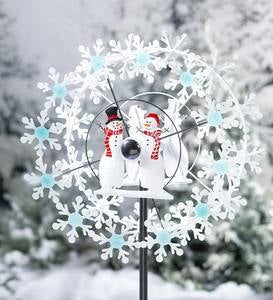 Holiday Snowman Metal Wind Spinner with Snowflakes