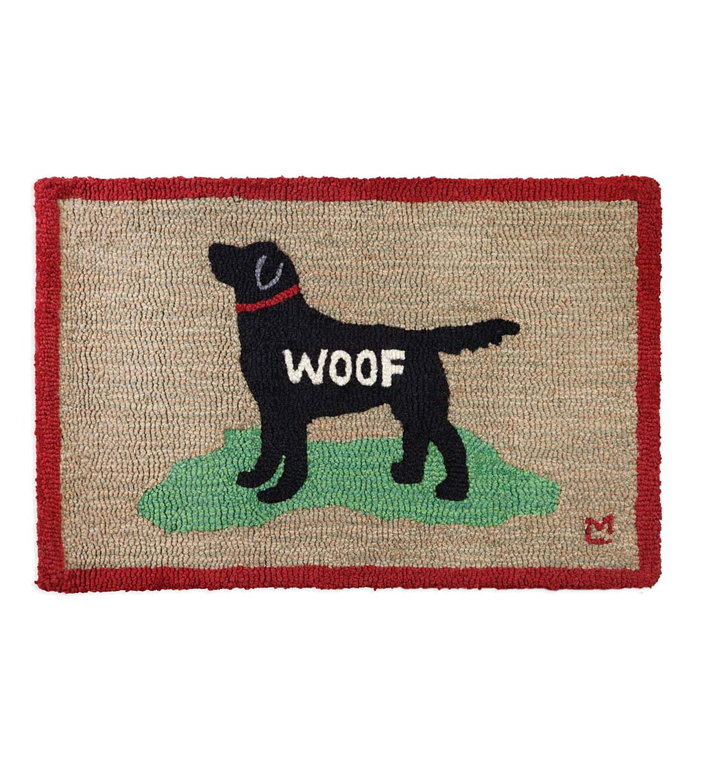 Hooked Wool Black Lab Woof Accent Rug
