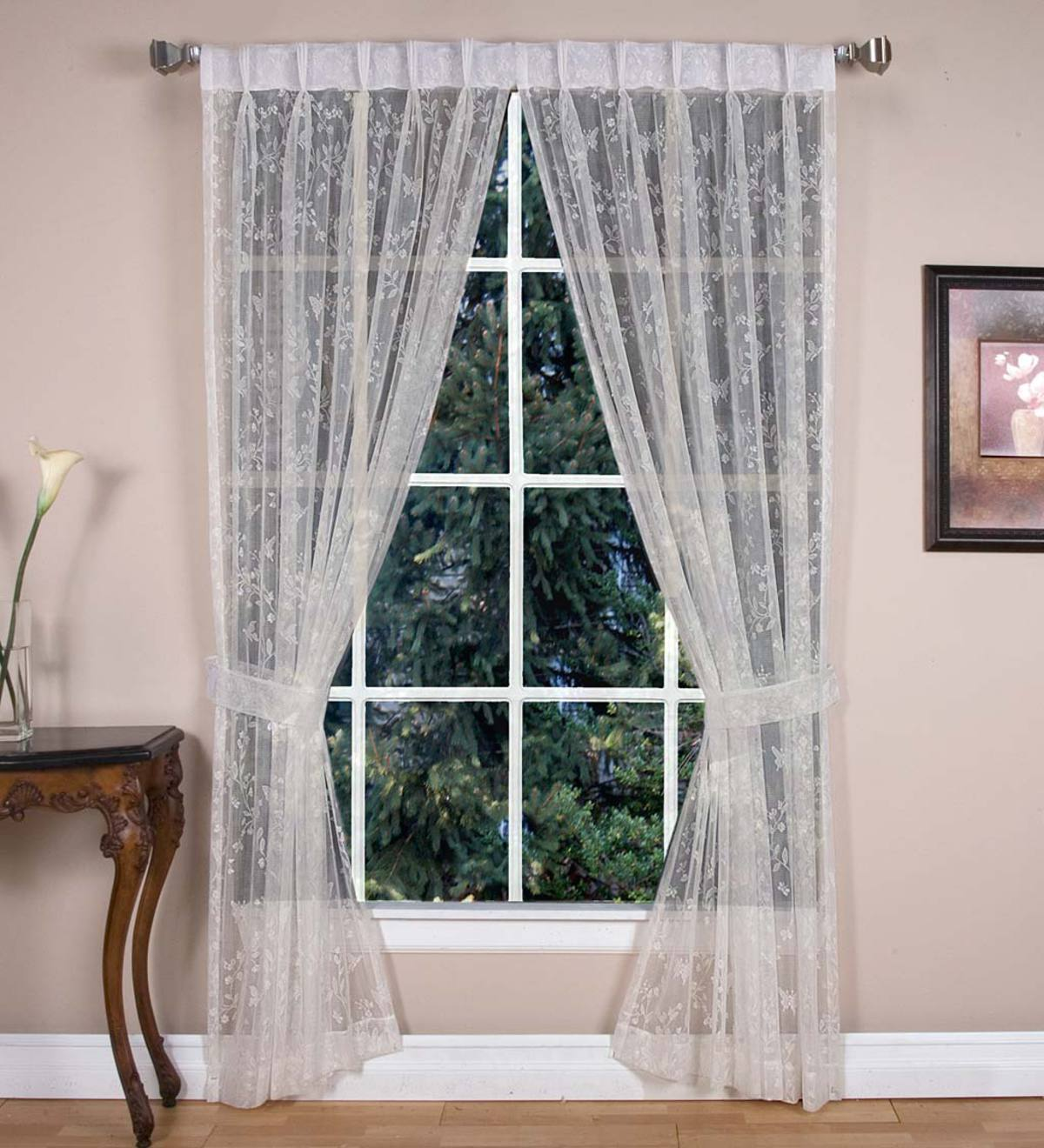"Butterfly Garden Sheer Curtain Pairs, 45""L - Ivory"