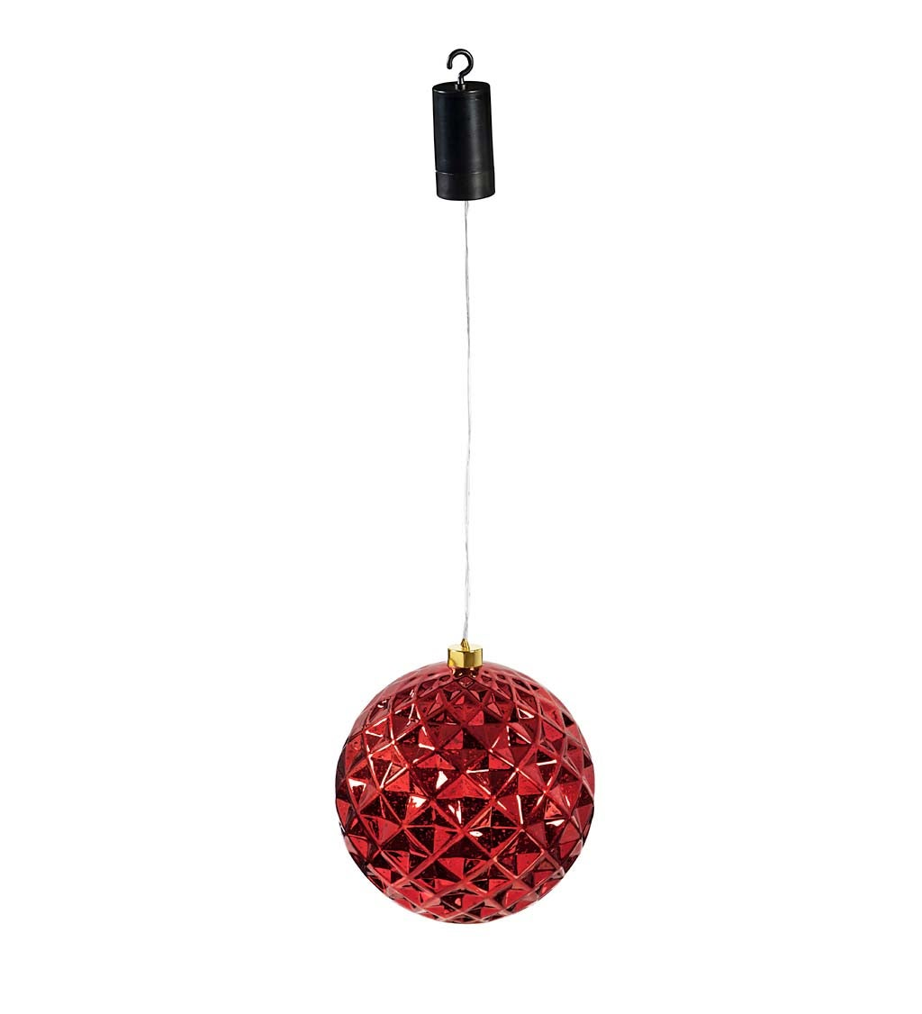 "8"" Indoor/Outdoor Lighted Shatterproof Hanging Holiday Faceted Ball Ornaments, Set of 2"