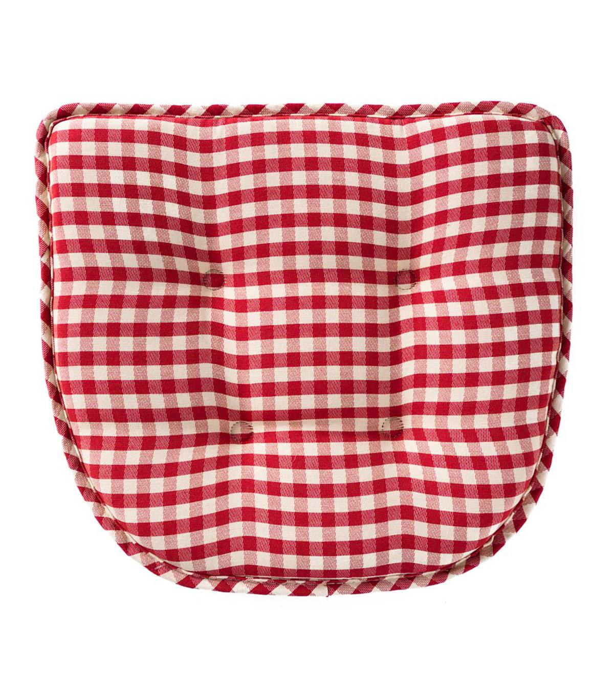 Non Slip Gingham Chair Pad Red