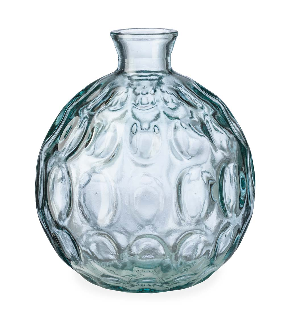 "Dune Round Recycled Dimpled Glass Vase, 7.5""H swatch image"