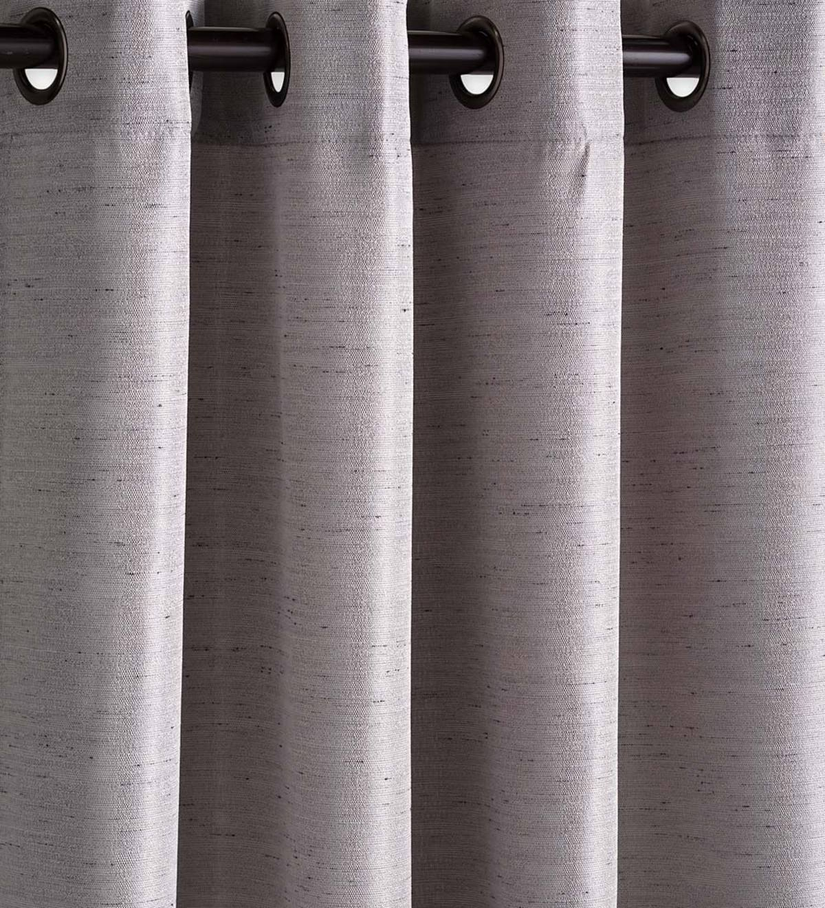 "Grasscloth Outdoor Curtain Panel with Grommet Top, 54""W x 108""L - Gray"