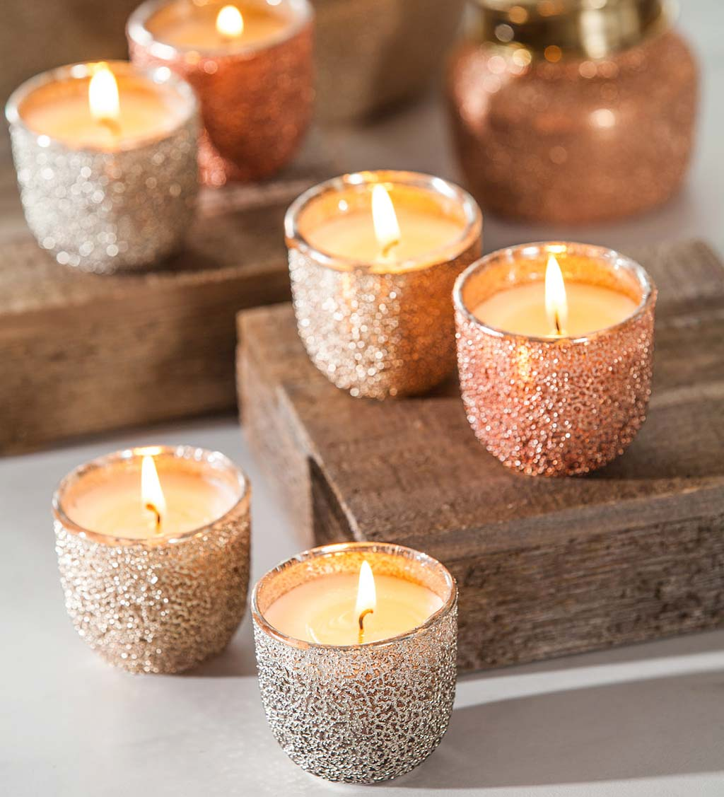 Metallic Textured Candle Gift Set, Set of 6
