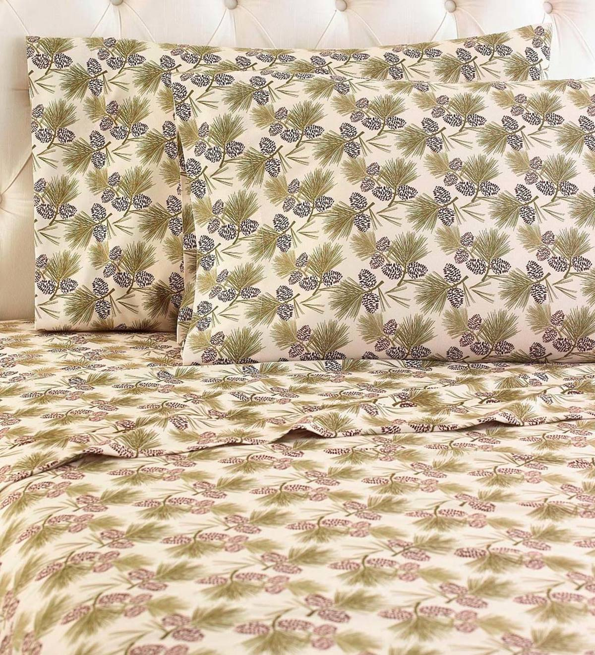 Pinecones Micro Flannel Sheet Set