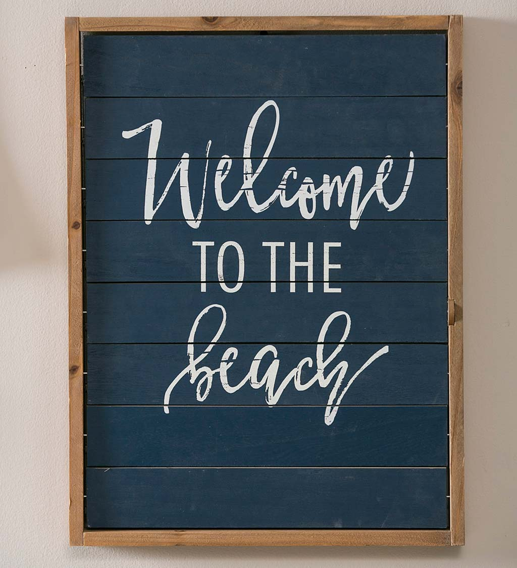 Welcome to the Beach Double-Sided Shutter Sign Wall Art