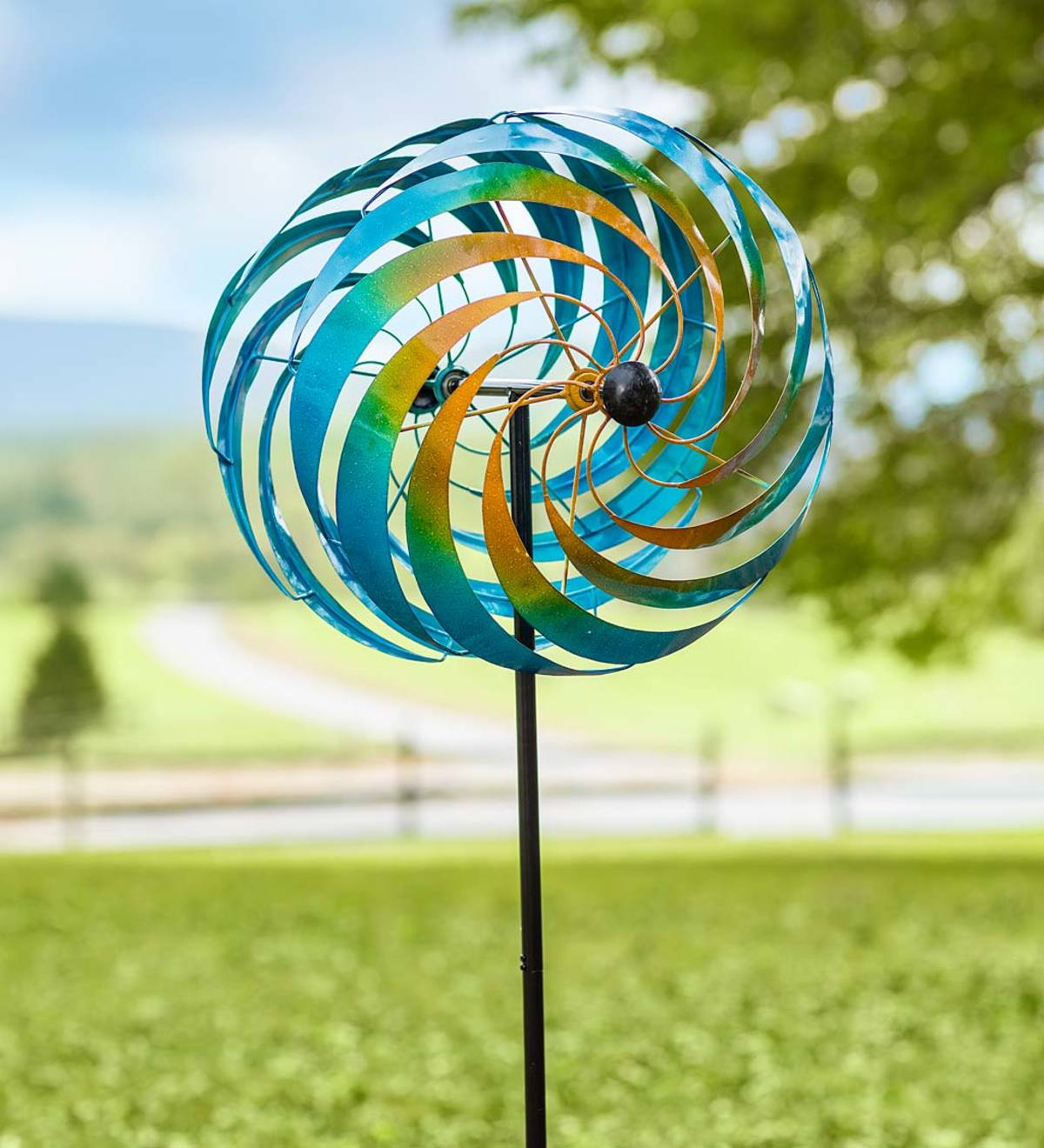 Blue Vortex Metal Wind Spinner
