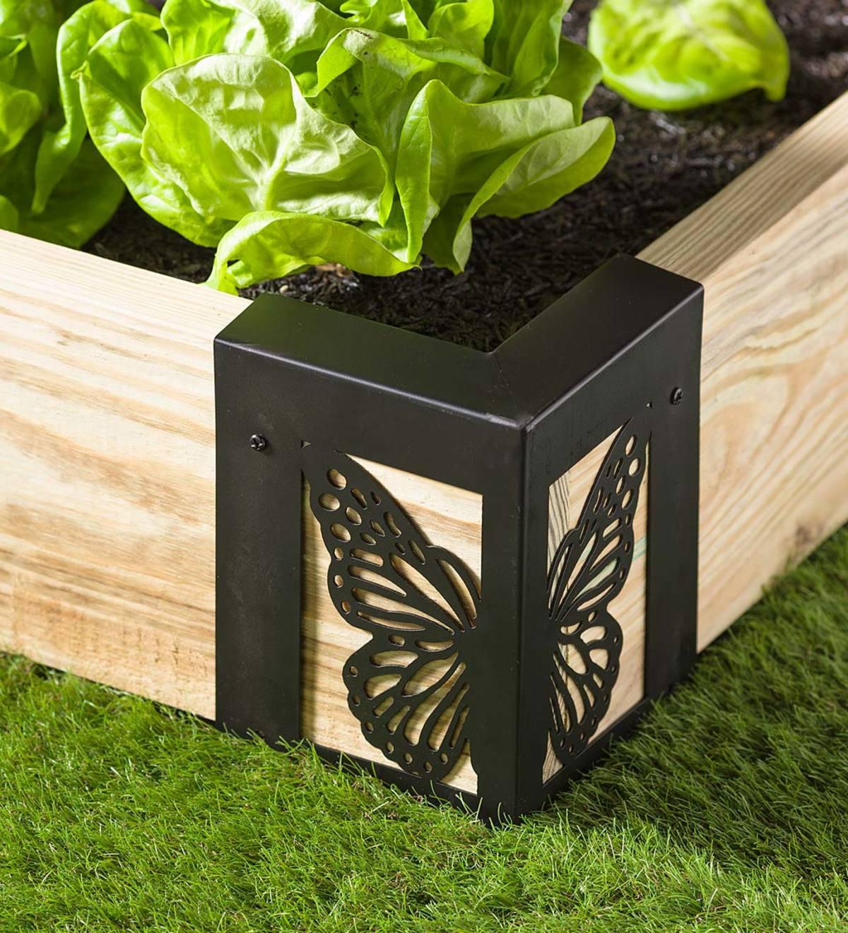 Image of: Steel Raised Garden Bed Corner Brackets In Butterfly Design Set Of 4 Plowhearth