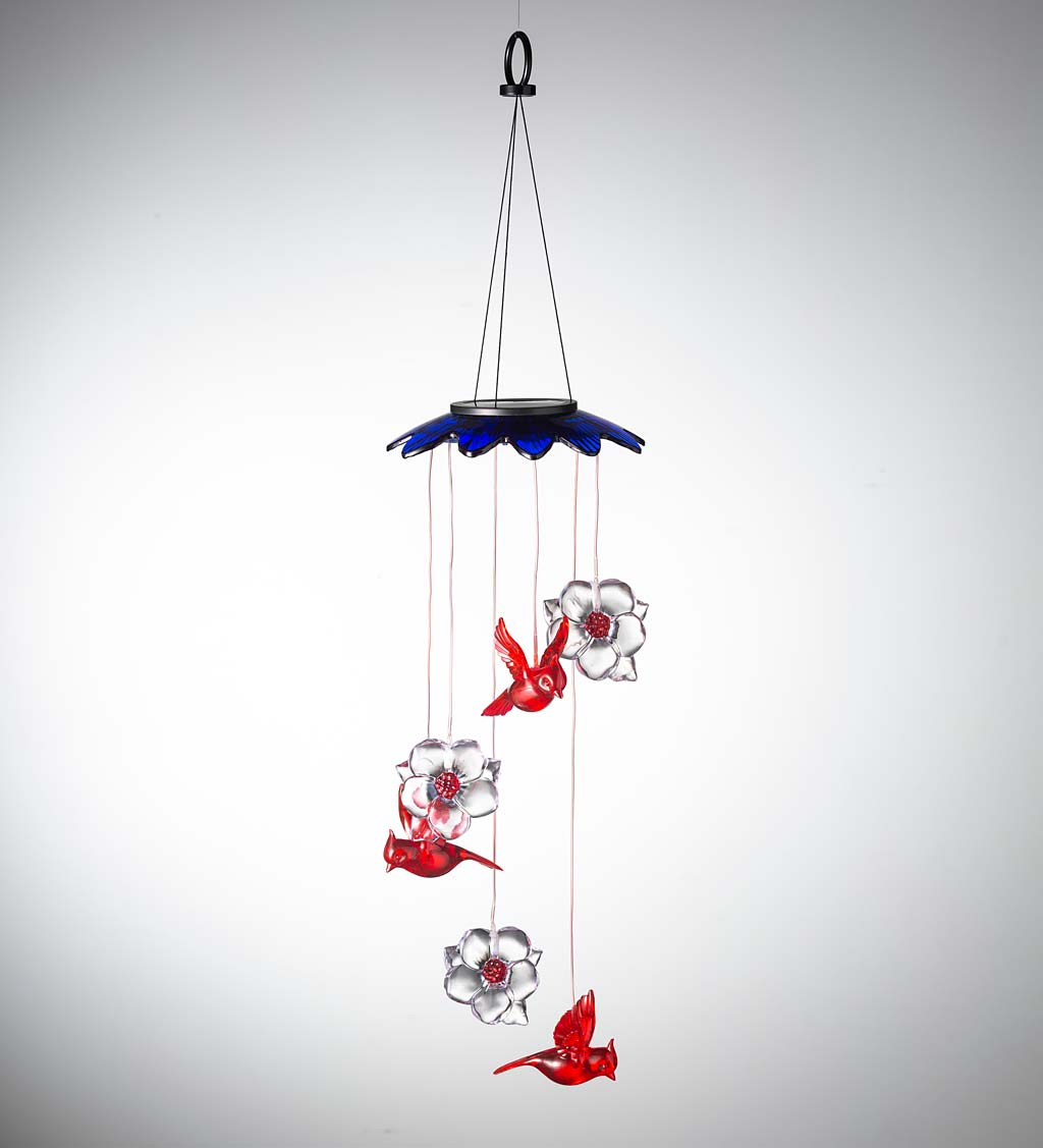 Special! Color-Changing Solar Mobile With Cardinals And Flowers