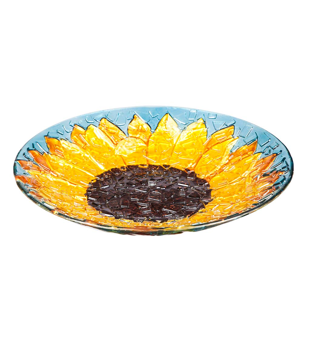 Glass Sunflower Birdbath Basin