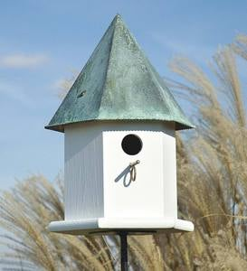 Copper Songbird Deluxe Birdhouse with Verdigris Patina Roof
