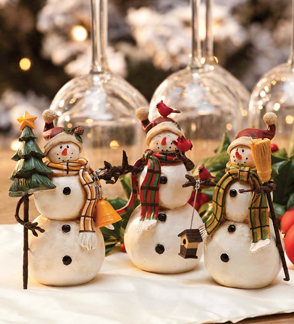 Winter Snowmen Tabletop Accents, Set of 3