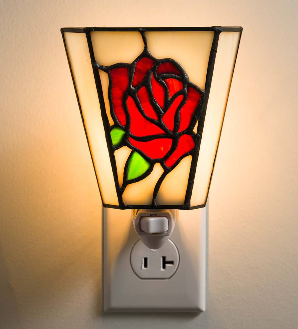 Tiffany-Style Stained Glass Rose Night Light