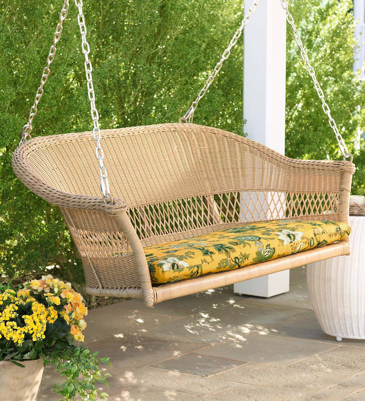 Easy Care Resin Wicker Swing Natural