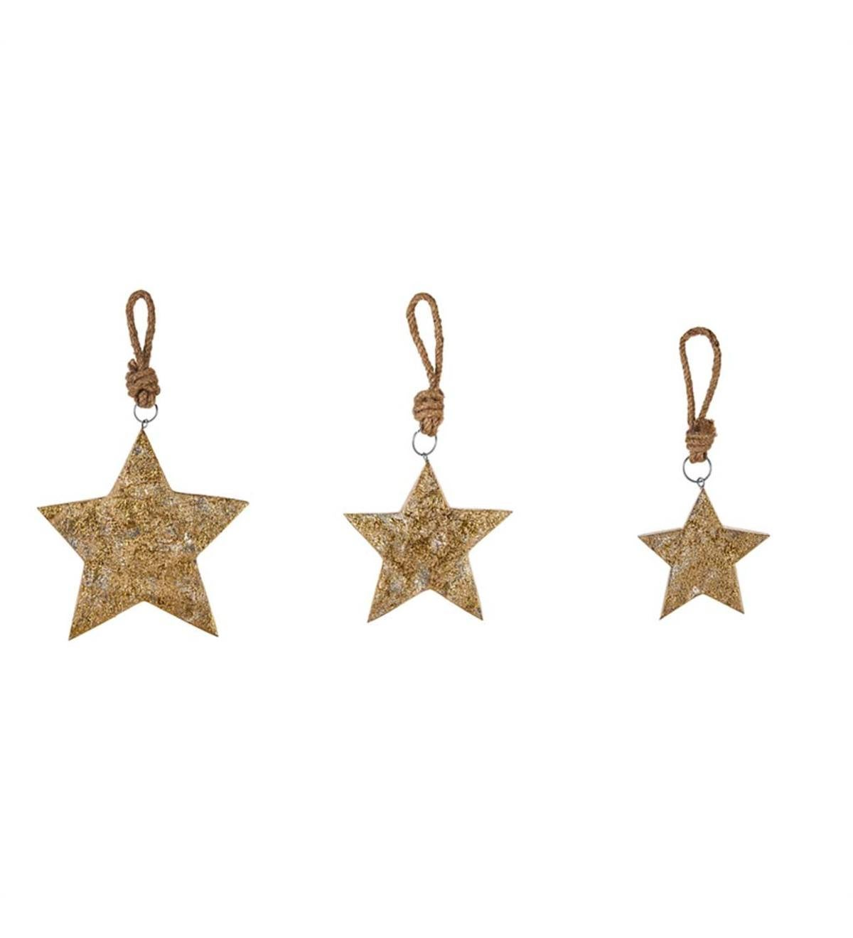 Gold and Silver Wooden Star Ornaments, Set of 3