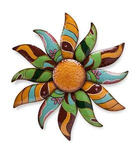 Talavera Painted Metal Flower Wall Art