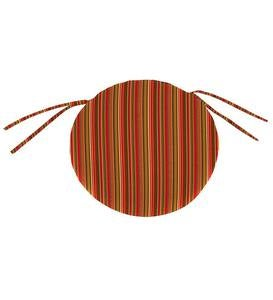 Sunbrella Classic Round Chair Cushion With Ties, 16″ x 2″ - Cherry Stripe