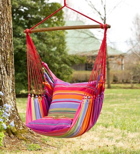 Pink Striped Cotton Hammock Chair Swing Plowhearth