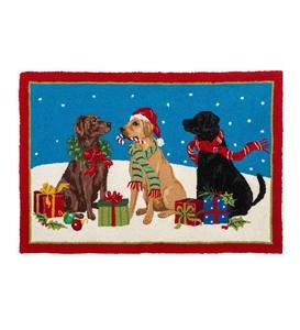 Holiday Hounds Lab Trio Hooked Wool Accent Rug