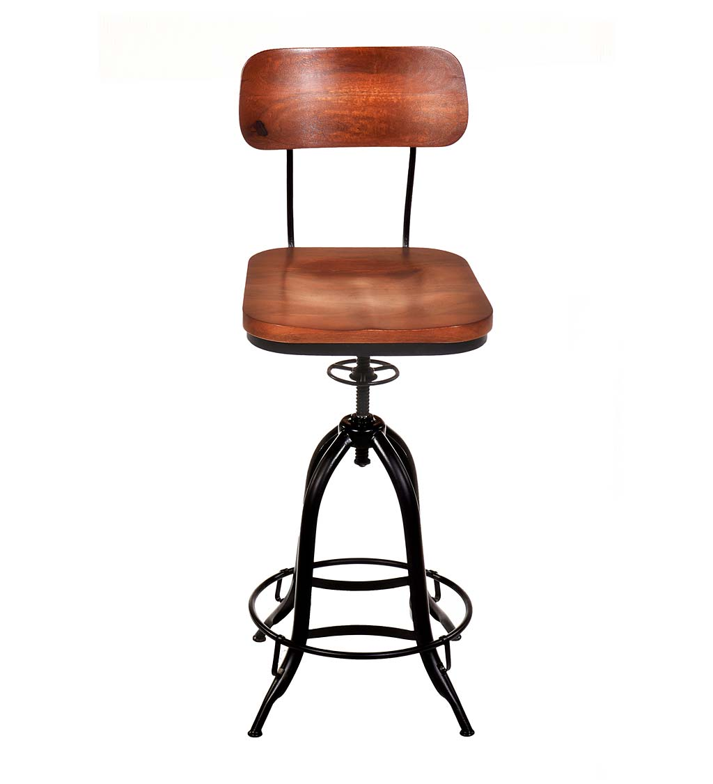 Deluxe Adjustable-Height Wood and Metal Stool with Back Rest
