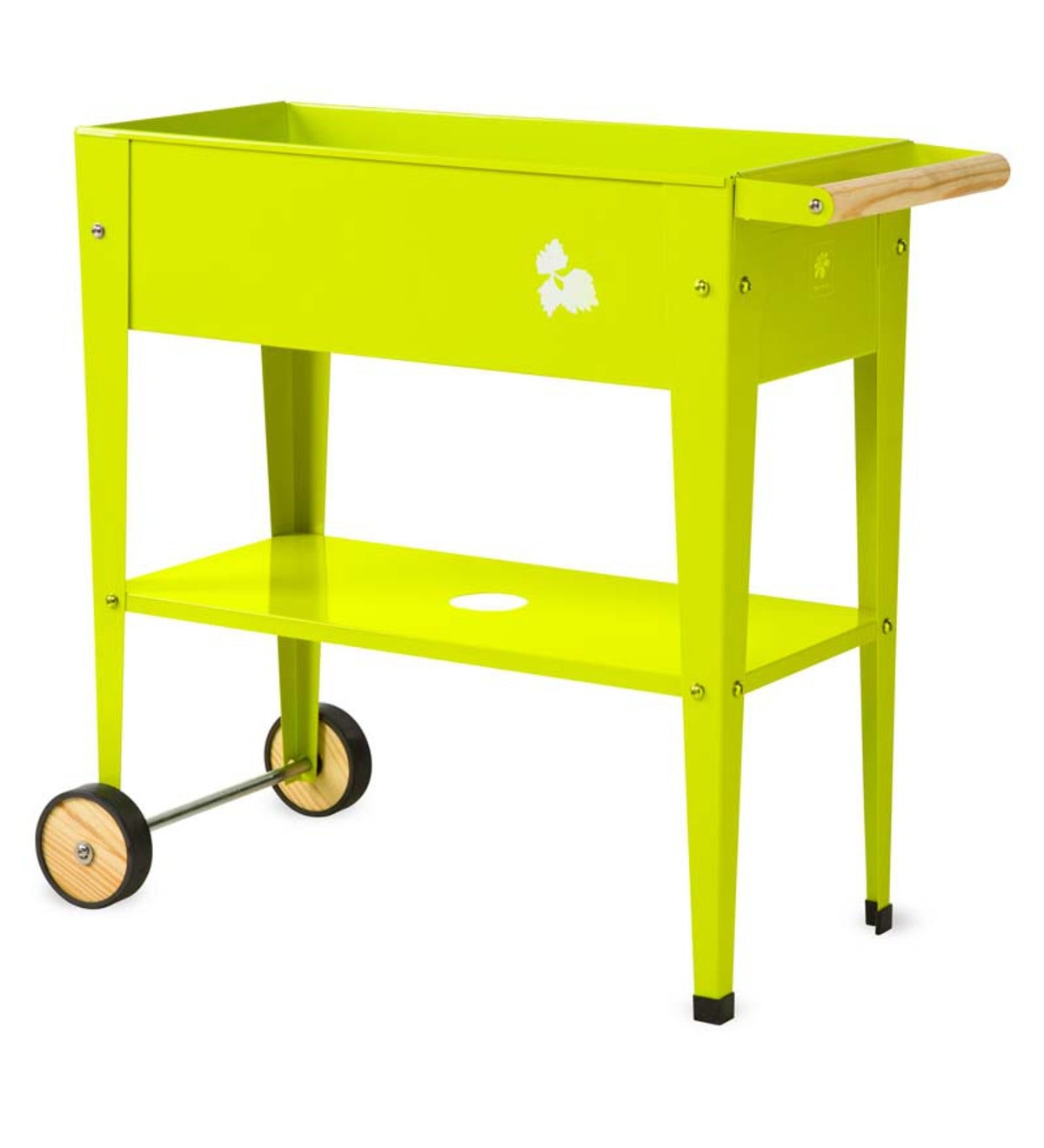 Colorful Steel Garden Trolley Planter - Green