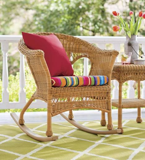 Plow And Hearth Furniture: Easy Care Resin Wicker Rocker
