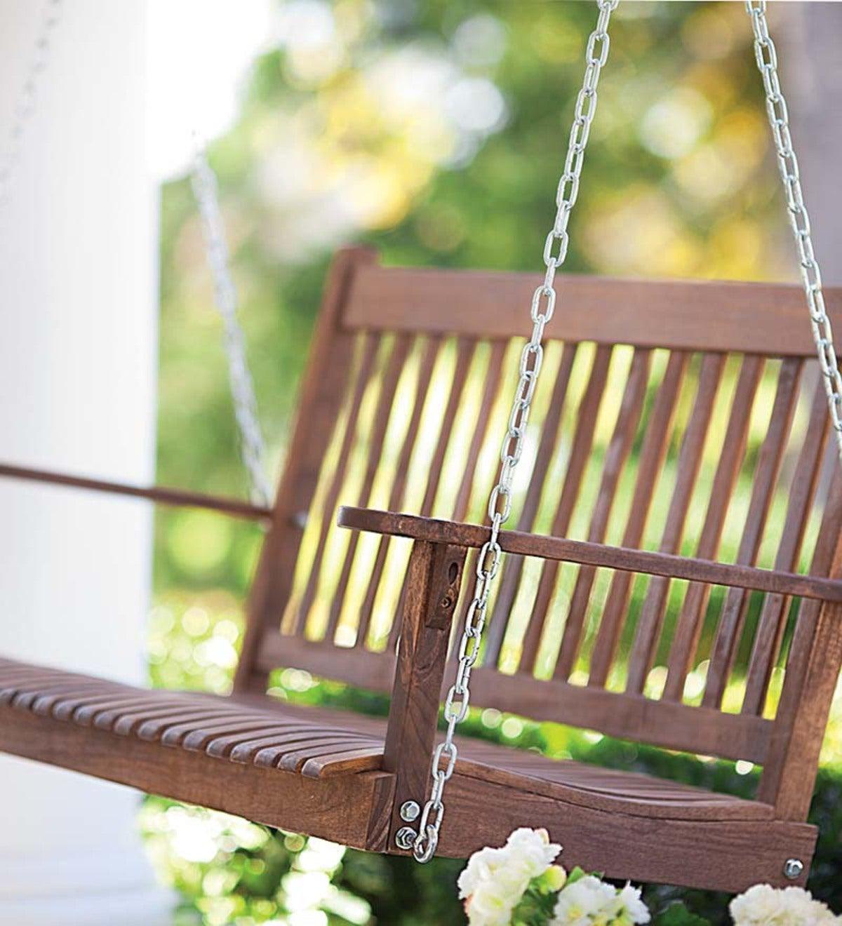Classic Slatted Wood Porch Swing Classic Slatted