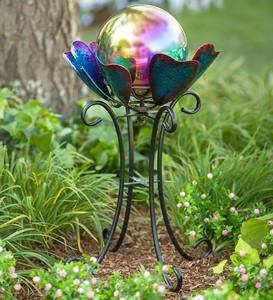 Spinning Petals Gazing Ball Stand