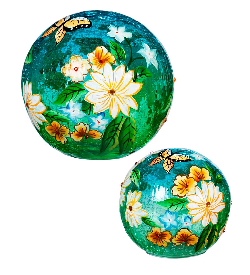 Butterfly Floral Crackle Glass Lighted Globes, Set of 2