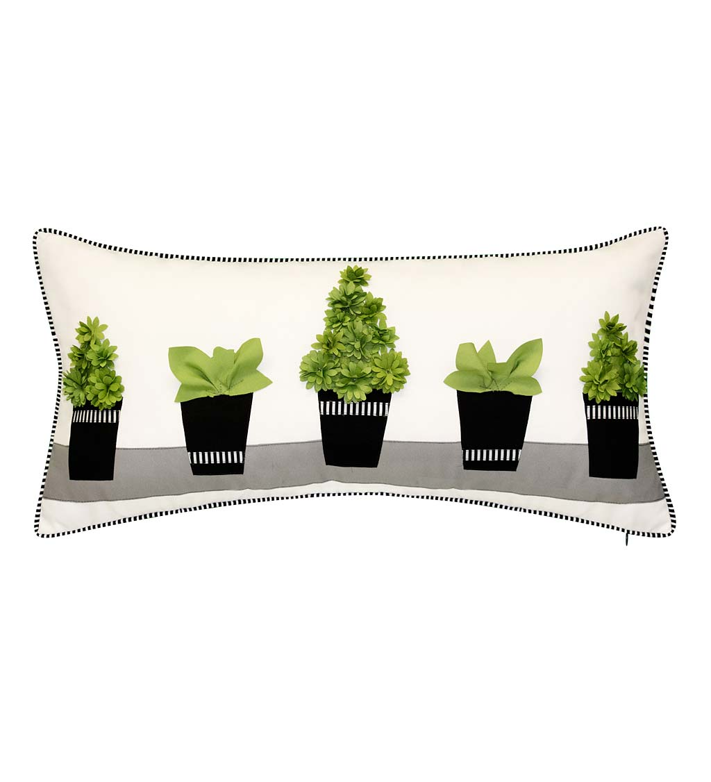Indoor/Outdoor 3D Textured Topiary Lumbar Pillow
