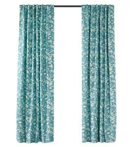 "Floral Damask Rod-Pocket Homespun Insulated Curtain Panel, 84""W x 84""L"