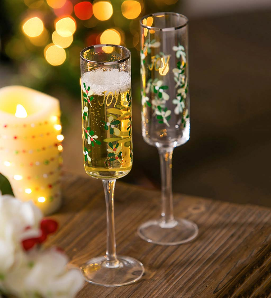 Holiday Joy Color Changing Champagne Flutes, Set of 2