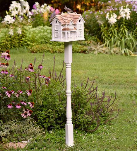Kingsgate Cottage Lighted Birdhouse and Pole Set