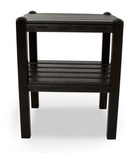 Low-Maintenance American-Made POLYWOOD® 2-Tier Jefferson Accent Table - Black