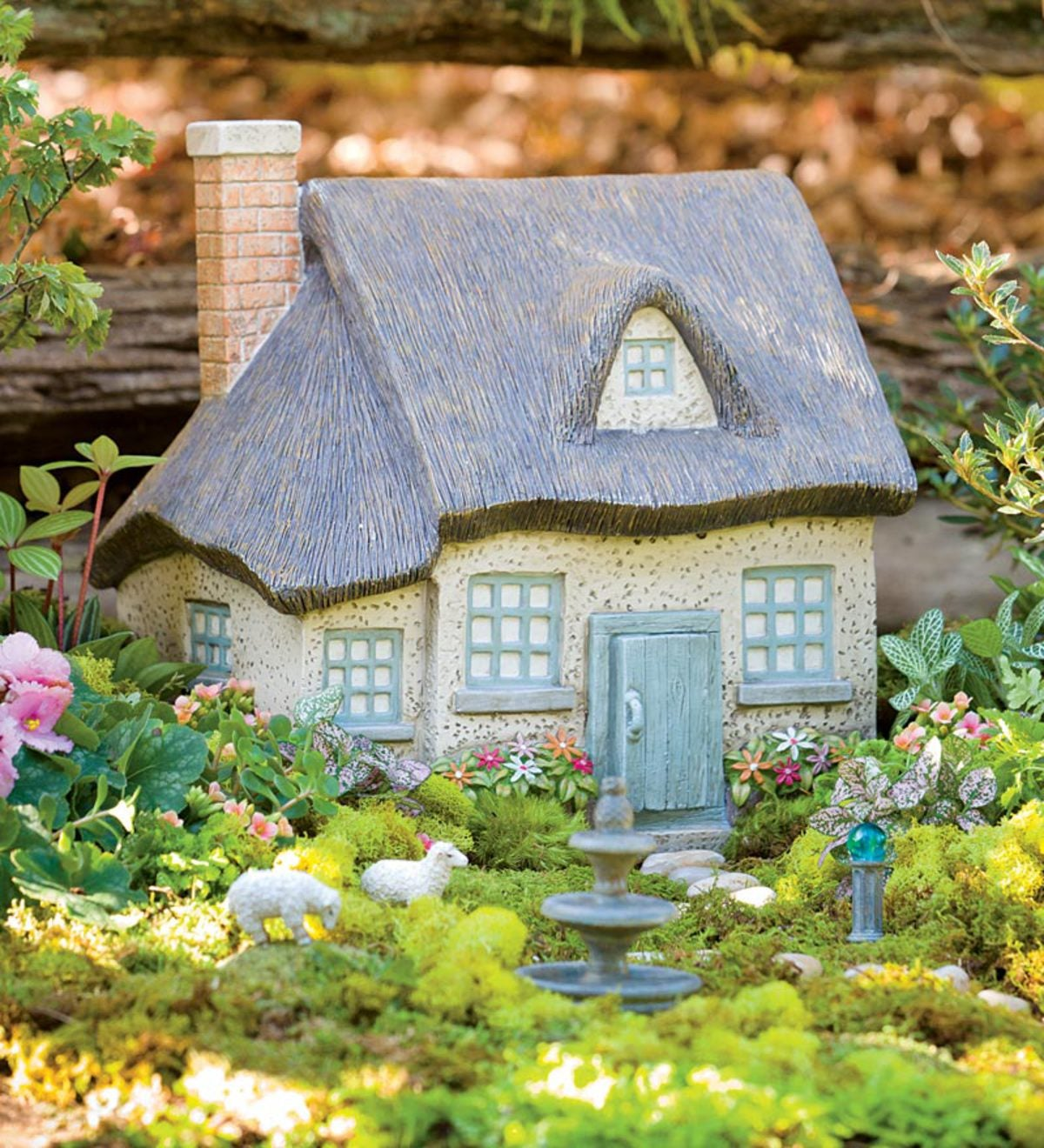 "Miniature Gray Fairy Garden Cottage, 12-1/2""H"