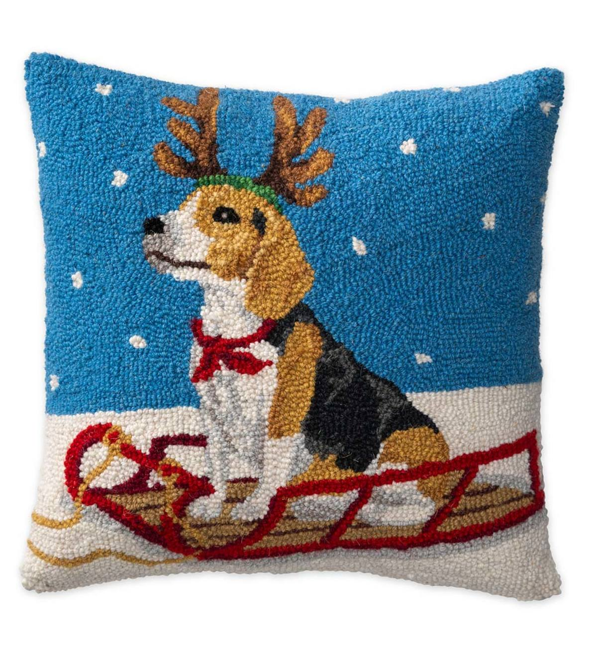 Hooked Wool Beagle On Sled Holiday Throw Pillow Plowhearth