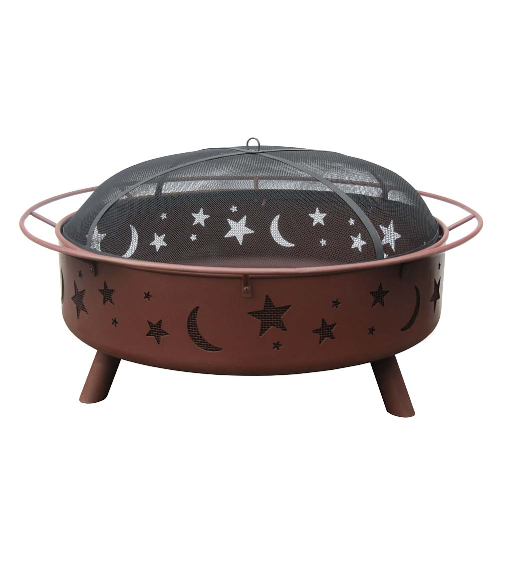 "Super Sky 36"" Stars & Moon Wood-Burning Fire Pit - Clay"